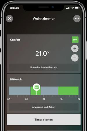 loxone ustawienia temperatury w aplikacji mobilnej