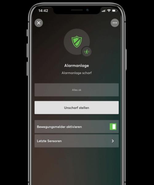 loxone uzbrojenie alarmu w aplikacji mobilnej