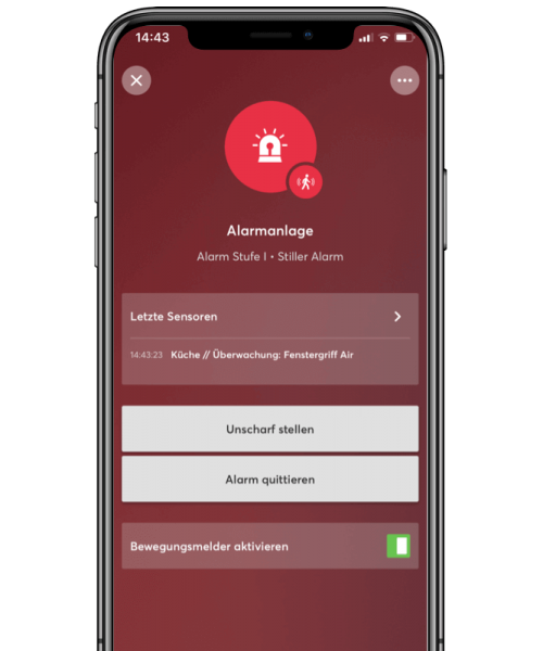 loxone cichy alarm w aplikacji mobilnej
