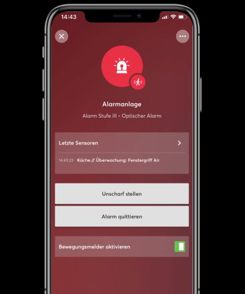loxone alarm optyczny w aplikacji mobilnej